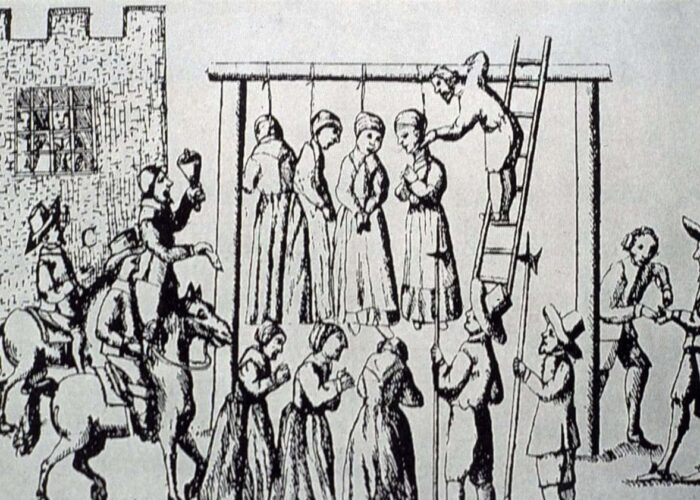 Illustration from ralph Gardner's 'England's Grievance' showing the execution of witches